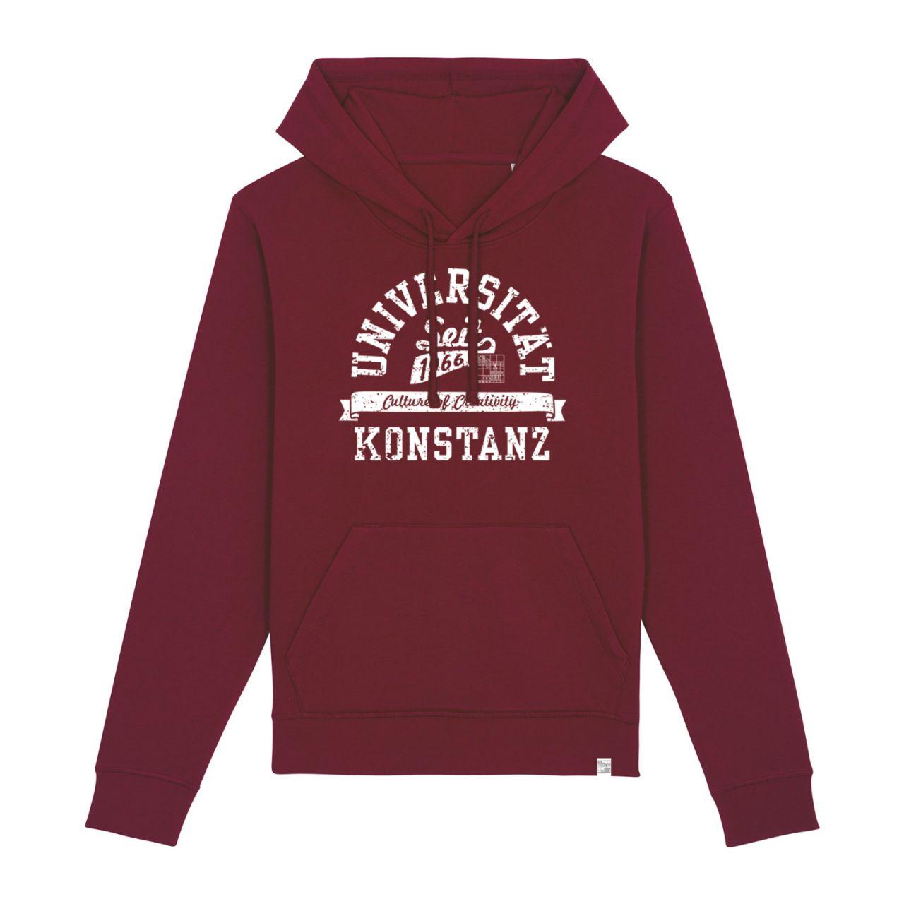 Unisex Organic Hooded Sweatshirt, burgundy, berkley